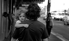 little girl (David Boehm) Tags: street bw man girl walking eyes hand pentax walk sydney newtown carry k10d pentaxk10d