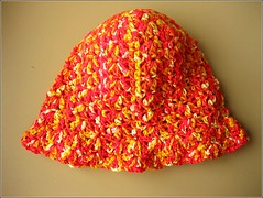 orange crocheted hat 001