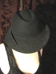 Vintage 1940s Style Ladies Black Felt Fedora 2