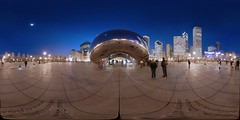 Cloud Gate, Millennium Park, Chicago - Anish Kapoor - 360 (Sam Rohn - 360 Photography) Tags: panorama usa chicago reflection skyline architecture night geotagged photography design us photo illinois interesting nikon exterior dusk panoramic bean photograph recursive millenniumpark cloudgate anishkapoor filmmaking stitched filmproduction 360x180 magichour qtvr scouting 360 360x180 panography filmlocation locationscout equirectangular 105mmf28gfisheye filmlocations nikond200 filmscouting samrohn realvizstitcher geo:lat=4188263 geo:lon=87623198 filmscout virtiualtour