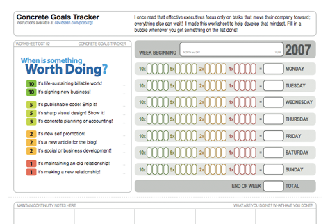 goal tracker by David Seah