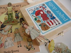 wooden storage box for paper dolls