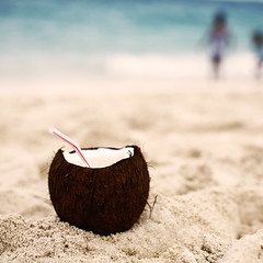 yes, that's a rum filled coconut.