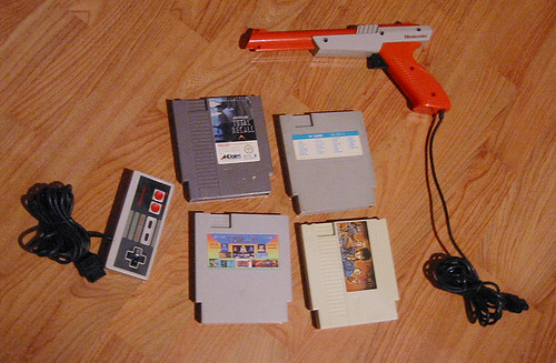 NES controller, Zapper and NES games