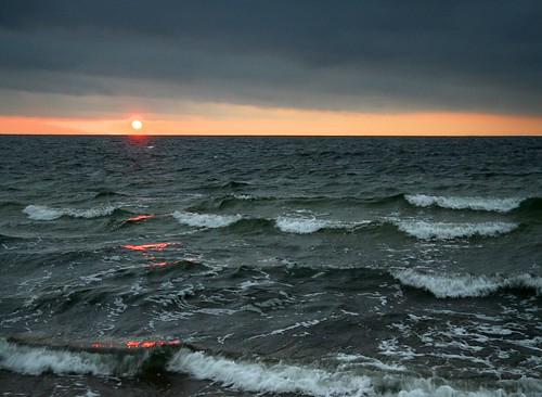 sunset over the stormy baltic sea