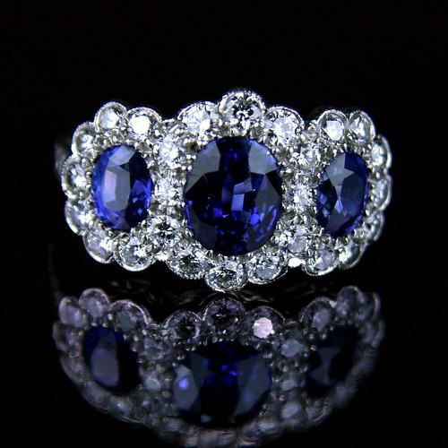 sapphire and diamond ring. Triple ceylon sapphire diamond