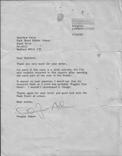Letter from Douglas Adams -- douglas adams letter autograph