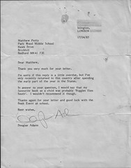 Letter from Douglas Adams - by muteboy