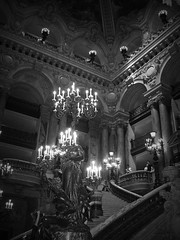 Haunted Opera (bekahpaige) Tags: bw white black paris france architecture opera europe candles staircase operahouse grandstaircase operagarnier neobaroque palaisgarnier parisopera 10faves anawesomeshot ysplix platinumheartaward