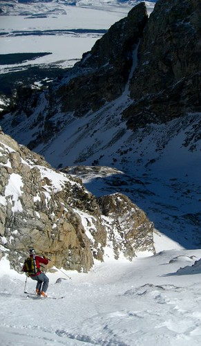 Skiing the lower Chouinard Couloir with East Hourglass in the background