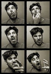 A Visual Lesson on Conversations with Yourself (or documentation of a man losing his mind) (wiseacre photo) Tags: portrait man silly face goofy mouth hair interestingness eyes hand wiseacre stubble gestures