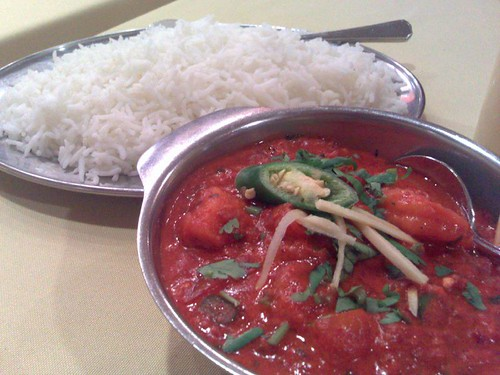 Prawn Vindaloo and White Rice