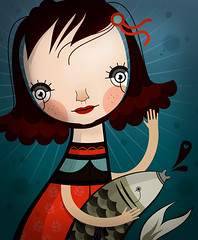 Eva (malota) Tags: portrait fish pez girl illustration eva drawing retrato nia dibujo ilustracin