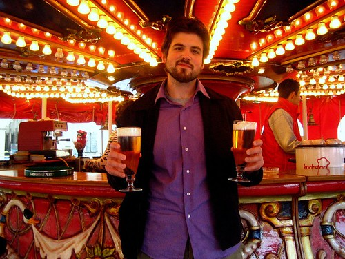Husbear buying beer from the carousel