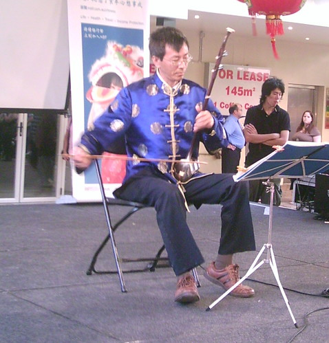 Yabin Huang plays the erhu, Chinatown Mall, Duncan St - Chinese New Year, Fortitude Valley, Brisbane, Queensland, Australia 070217