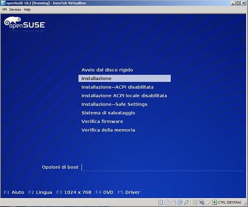 VirtualBox - virtualMachine - openSUSE10.2 - partenza - installazione