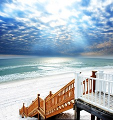 Stariwell Profile Orton (Eszra) Tags: ocean sun seascape beach vertical stairs landscape seaside florida pano gimp beam staircase hdr cloudscape edit waterscape hugin fdrtools diamondclassphotographer