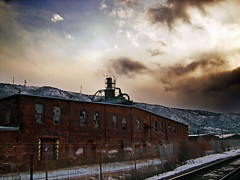 Forgotten (Nicholas_T) Tags: railroad winter sky snow abandoned clouds lowlight factory dusk pennsylvania creativecommons dilapidated bluemountain altostratus stratocumulus kittatinnymountain carboncounty