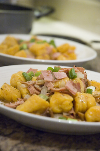 sweet potato gnocchi with ham, figs and balsamic butter