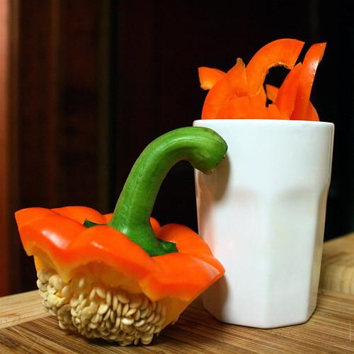 Orange Bell Pepper, cut