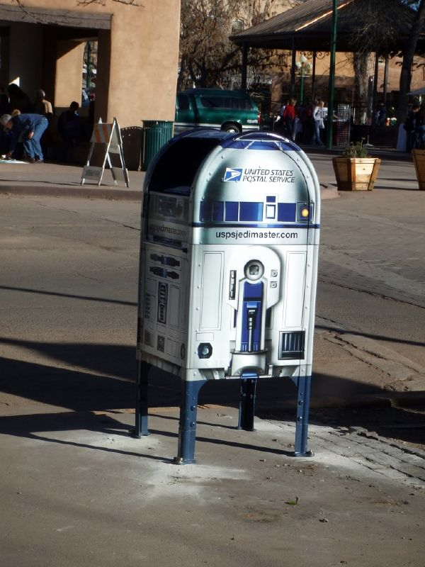Postal Drop-Box in Santa Fe, New Mexico, painted in colors and design like R2-D2 from STAR WARS