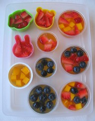 Juice gelatin fruit cup for packed lunches