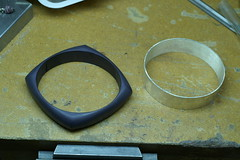 first color... (jon m ryan) Tags: art silver aluminum workinprogress craft jewelry bracelet sterling process jonryan anodize