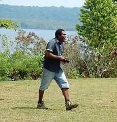 Happy Man On a Mission (mikecogh) Tags: vanuatu espiritusanto steeve happy purpose striding sea coast island aore