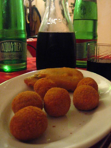 Water, Wine, and Stuffed Fried Things.  Yes.
