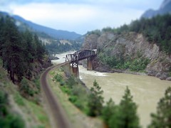 'Model' Bridge, Rockies BC (Littlepixel) Tags: bridge mountains photoshop river rockies miniature fake mini canadian via fts tiltshift toytown lensblur railwaylayout