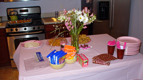 birthday party food table. Food table (island) before