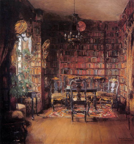 Harriet Backer, The Library of Thorval Boeck / Mariana