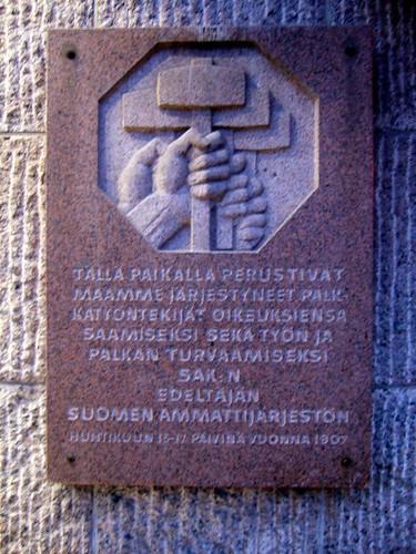 Placa conmemorativa de la unión de trabajadores finlandeses