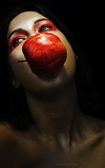 Apple 2 (Rekanyari) Tags: portrait woman selfportrait apple fruit fairytale scary makeup evil fantasy wicked brunette narrative moodu