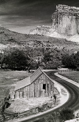Fruita (Bodie Bailey) Tags: bw barn landscape utah capitolreef tmax400 fruita canonftb highway12 bachspicsgallery