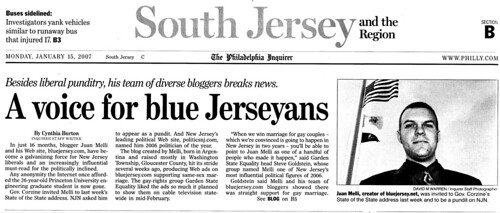 Philadelphia Inquirer article, Jan 15, 2007 (page 1)