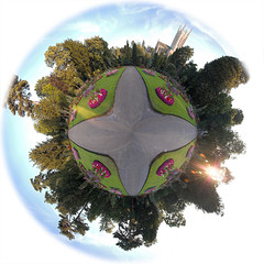 Planet Abbey Gardens (Andrew Stawarz) Tags: panorama photoshop nikon published d70s explore planet 360 burystedmunds abbeygardens explored stereographicprojection 1870mmf3545gedifafsdxnikkor polarpanoramaeffect