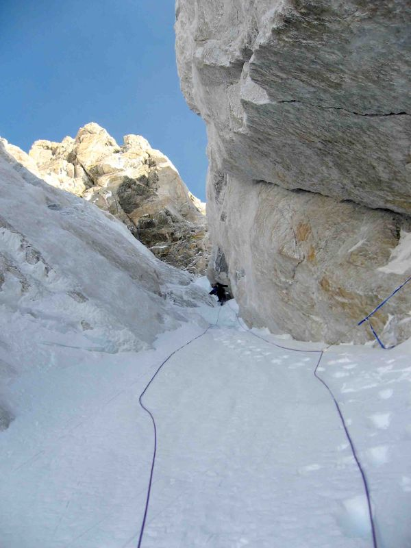 Brian Harder climbs the Stettner Couloir on the Grand Teton