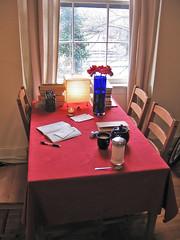 Workspace, last week. (JohnnyG*) Tags: house college moleskine home apt work notebook table university apartment tea desk philosophy teapot g2 homework nietzsche pilotg2 cahier pilotgs
