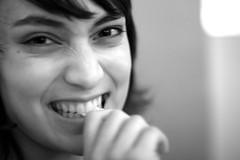A Bite (Andwan) Tags: portrait bw 50mm eyes bite celine akiko stance