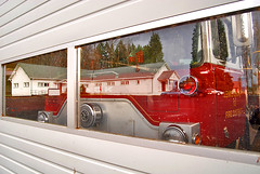 Fire Station (Curtis Gregory Perry) Tags: firetruck fire truck mack curtis reflection grange hall lewis county red washington state wa pacific northwest trucks car us usa united states america evergreenstate pacificnorthwest automóvil coche carro vehículo مركبة veículo fahrzeug automobil