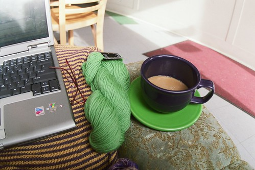 laptop, tea, glasses, and yarn