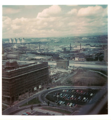 Salford 1974 (Neil101) Tags: life old uk chimney england mars house tower station st manchester 1974 construction power retro flats 70s block pendleton salford development jamess precinct agecroft lifeonmars