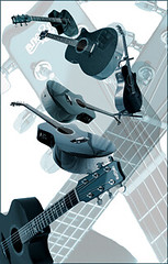 Teal Guitar Collection (Doc Pixel) Tags: blue musician music neck play guitar note string fret specobject