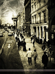 O'Connell Street, Dublin, Ireland (Seven Seconds Before Sunrise) Tags: street travel ireland people bw dublin car architecture europe eire oconnellstreet artlibre