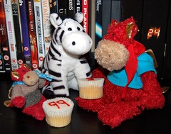 Cupcakes (Eldritch_the_dragon) Tags: friends red food cake toy cupcakes yummy nice dragon spot sugar plush special eat zebra sharing present icing feed eats bamburgh eldritch