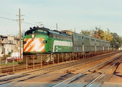 Westbound Burlington Northern commuter train. Riverside Illinois USA. October 1989.