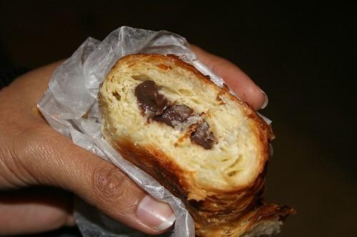 Kim's bitten Italian chocolate croissant