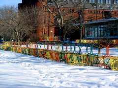 Terrace in March (Ann Althouse) Tags: lake ice wisconsin frozen chairs madison tables frozenlake memorialterrace