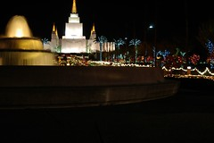 Cascading Temple of Lights (cwgoodroe) Tags: christmas longexposure sunset holiday building water fountain architecture night dark temple lights oakland long exposure nightshot religion jesus expose christmaslights bayarea string mormon stillwater ist pentaxistd mormontemple chronicle96hours